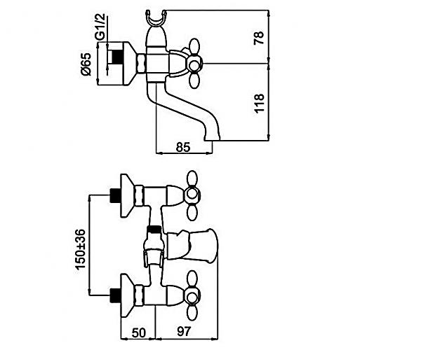 Смеситель для ванны RUBINETA TOSCANA M10S06