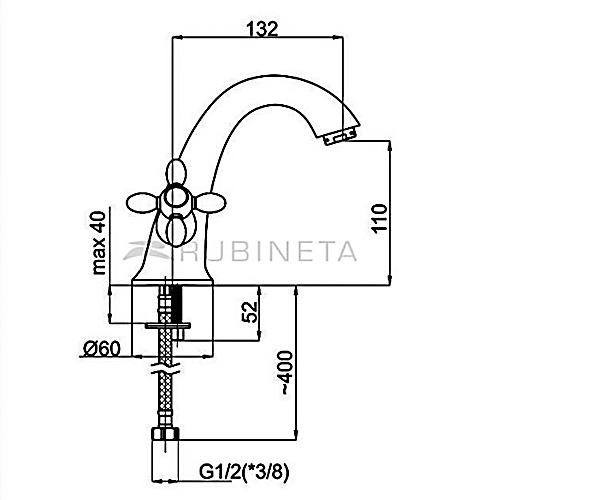 Смеситель на раковину RUBINETA TOSCANA M20006