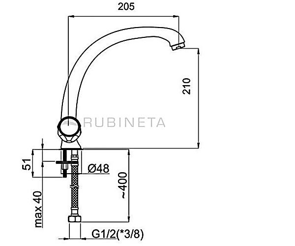 Кухонный смеситель RUBINETA MILANO M8T006