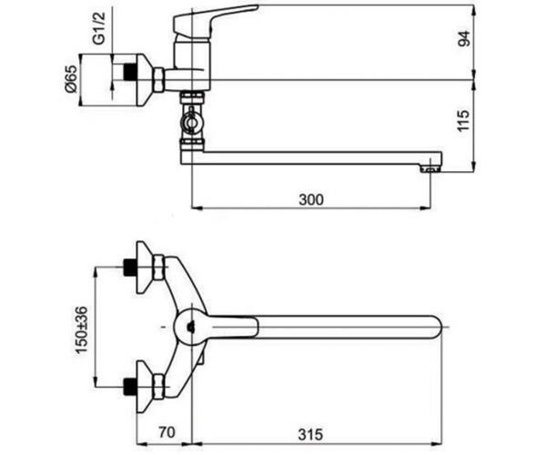 Смеситель для ванны RUBINETA UNO N2CD01