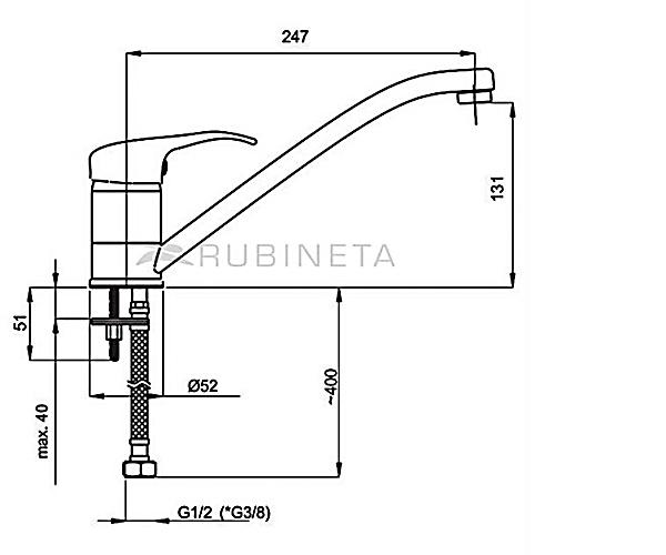 Смеситель для раковины RUBINETA MEDIC P00005