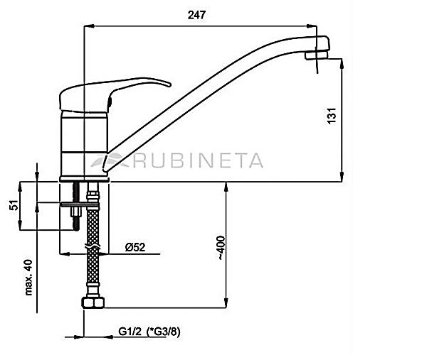 Кухонный смеситель RUBINETA PRINCE P00061
