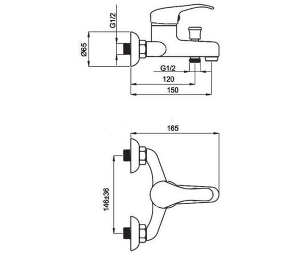 Смеситель для ванны RUBINETA PRINCE SHER P10002