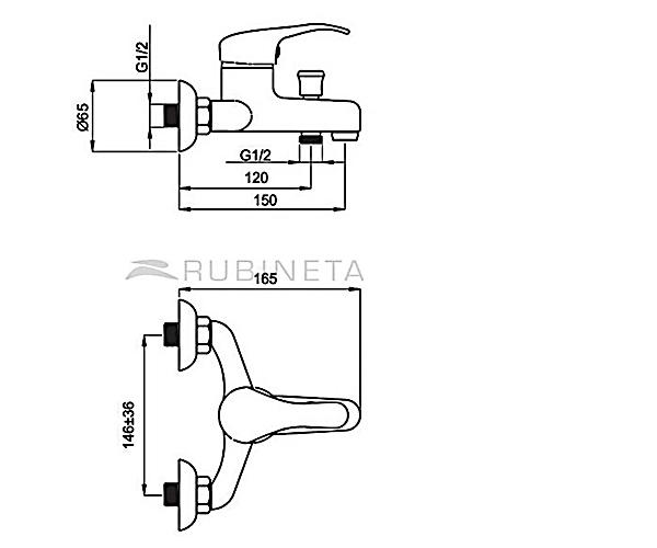 Смеситель для ванны RUBINETA PRINCE P10K01