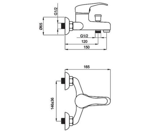 Смеситель для ванны RUBINETA PRINCE P10K02