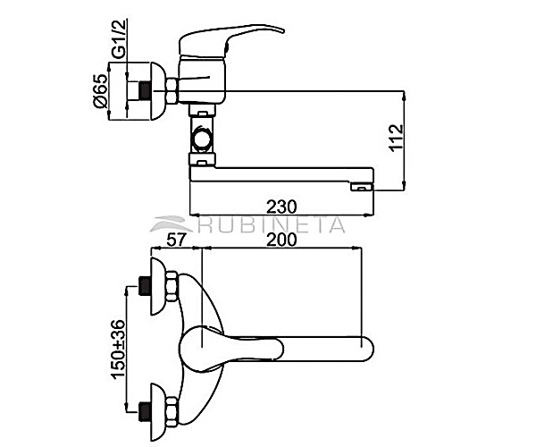 Смеситель для ванной RUBINETA PRINCE P21K01