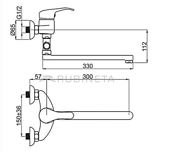 Смеситель для ванной RUBINETA PRINCE P2CK01