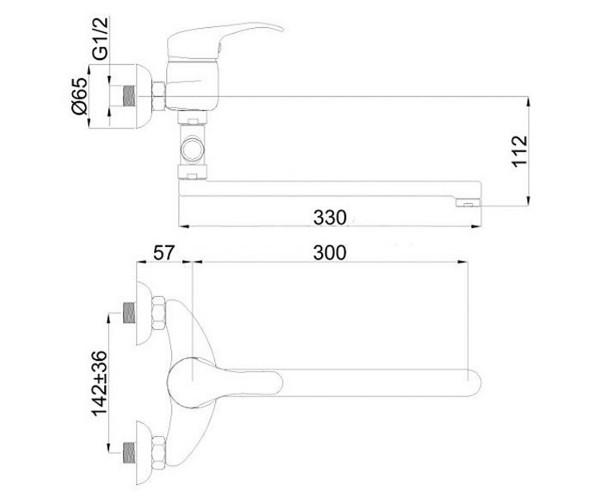 Смеситель для ванны RUBINETA PRINCE P2CK02