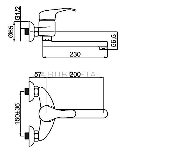 Смеситель для ванной RUBINETA PRINCE P41001