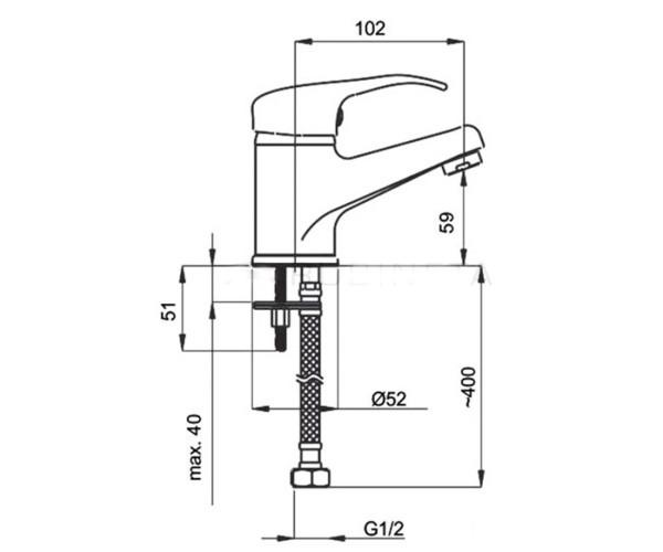 Смеситель для раковины RUBINETA PRINCE GALA P80004
