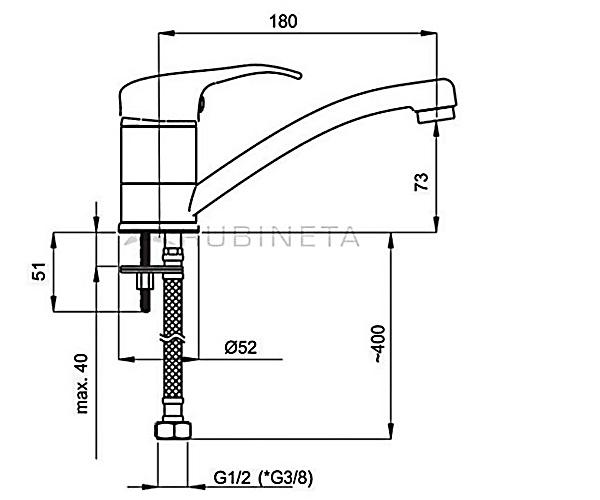 Смеситель для раковины RUBINETA PRINCE P90001