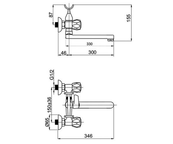 Смеситель для ванны RUBINETA GLOBO R1CK02