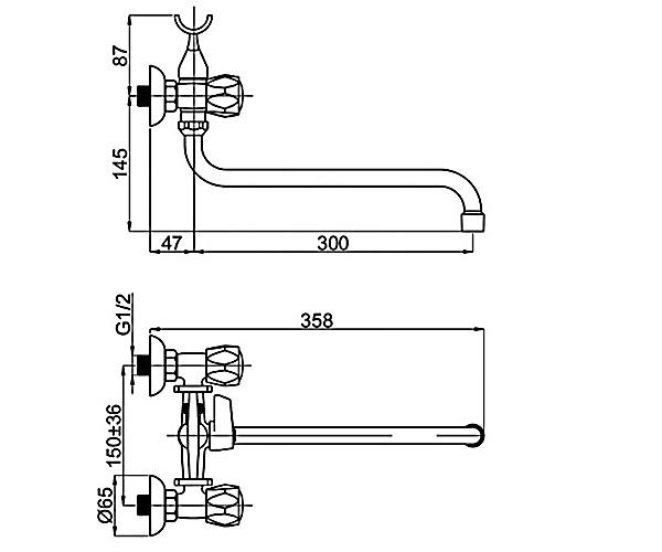Смеситель для ванны RUBINETA GLOBO R1SK02
