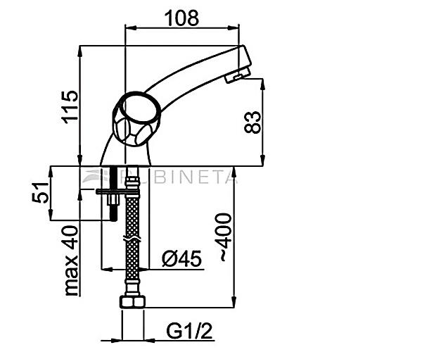 Смеситель для умывальника RUBINETA GLOBO R20002