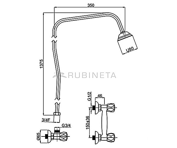 Смеситель для душевой системы RUBINETA GLOBO R50062