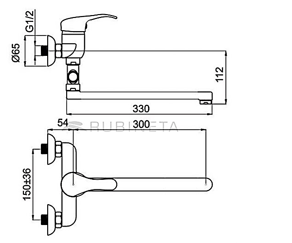 Смеситель для ванны RUBINETA TURBO T2CK01