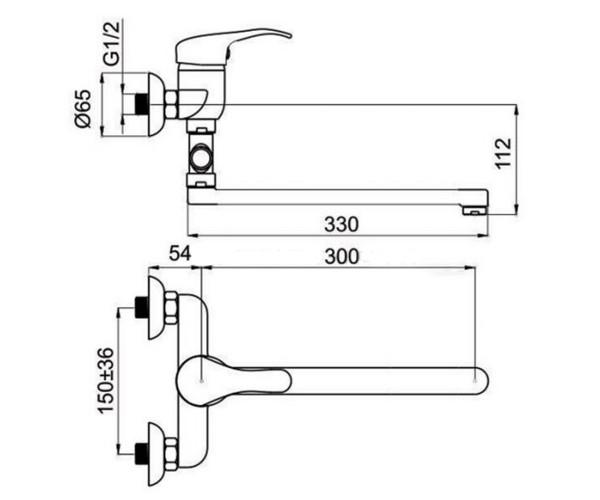 Смеситель для ванны RUBINETA TURBO T2CK02