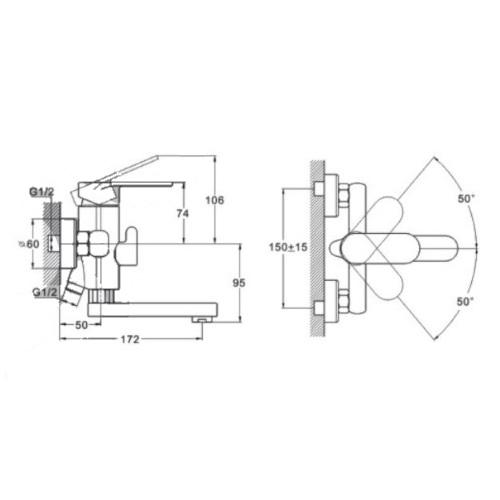 Смеситель для ванны ZEGOR (TROYA) LOB3-128 (Z65-LOB3-A128)