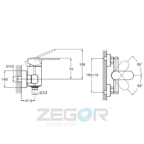 Смеситель для душа ZEGOR (TROYA) LOB5-A128 (Z65-LOB5-A128)