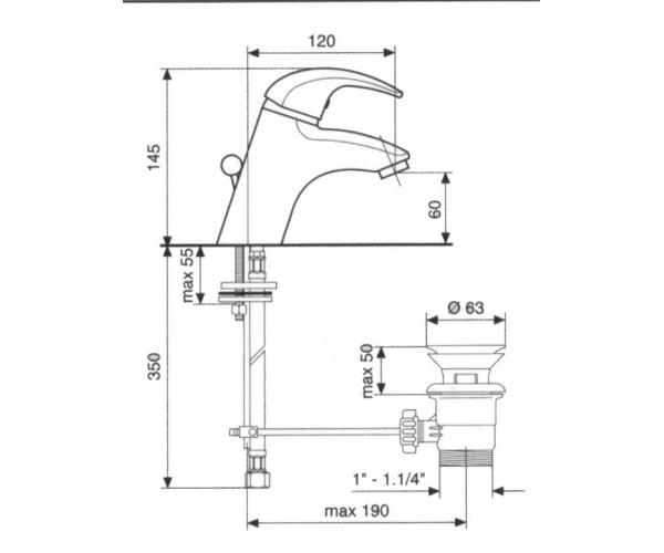 Смеситель для раковины EMMEVI LUXOR SC7003R