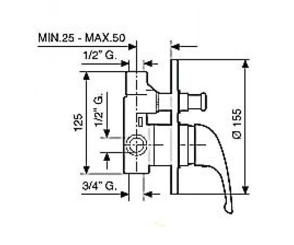 Смеситель для душа EMMEVI CR8019L