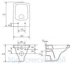 Чаша унитаза Cersanit EASY подвесного без сиденья (02014)