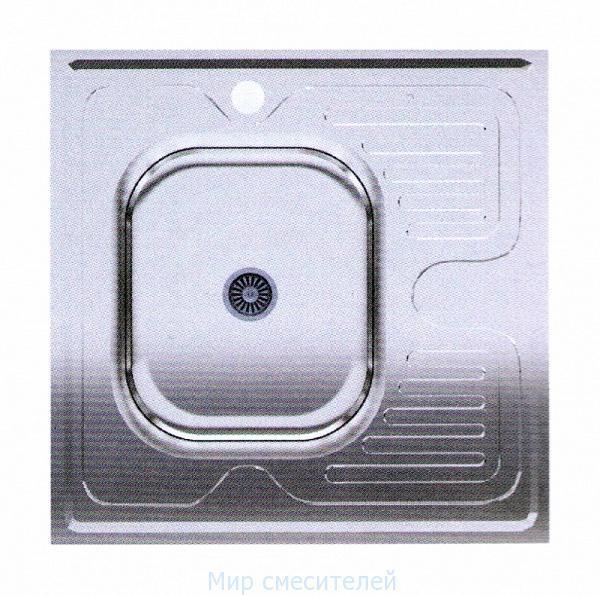 Мойка квадратная накладная левая 600х600х150 Asil Krom 0,4