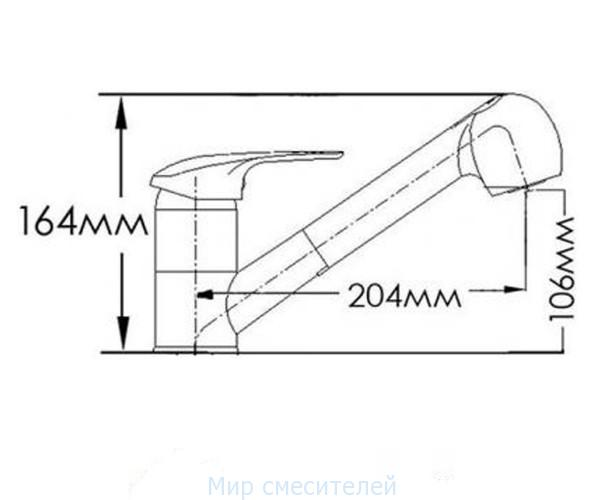 Смеситель для кухни с вытяжной лейкой MIXXEN ЛУНА HB7882495C