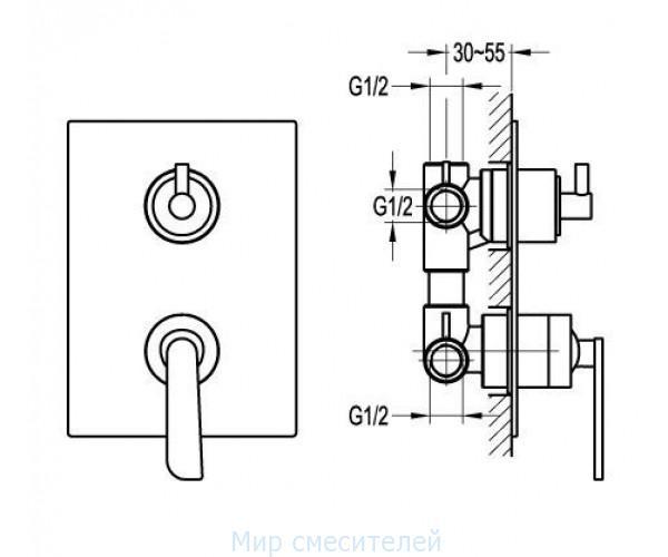 Смеситель для ванны MIXXEN КУБИКА MXFH9903-D68
