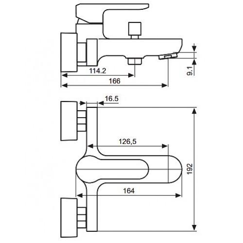 Смеситель для ванны EMMEVI Nefer NEO 77001