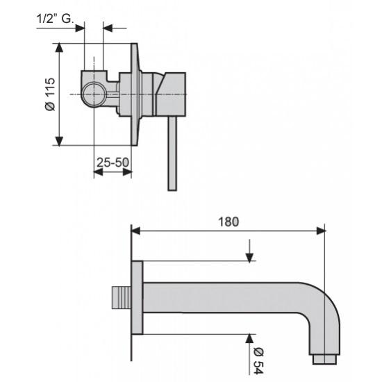 Смеситель для раковины EMMEVI PIPER CR45055