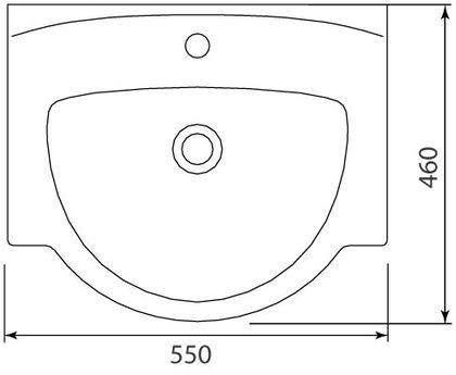 Умывальник Colombo Акцент 65 с отверстием справа (S12196500)