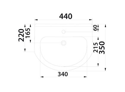 Умывальник мебельный Colombo Элегант 44 с отверстием (S07294400)