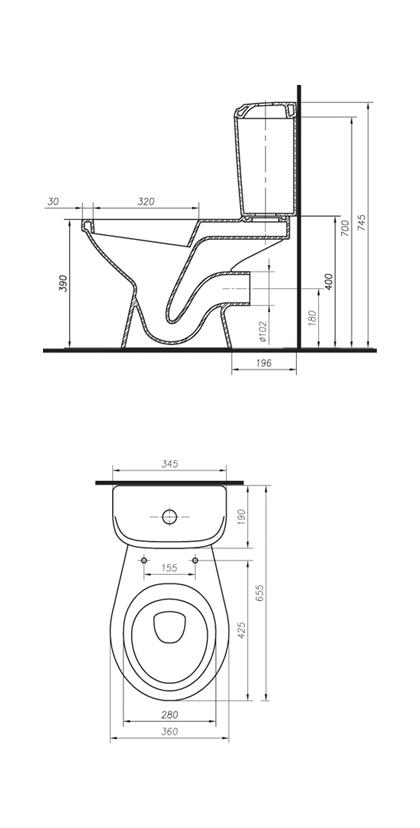 Чаша унитаза Colombo «Вектор Standard 1» горизонтальный выпуск (S16300200)