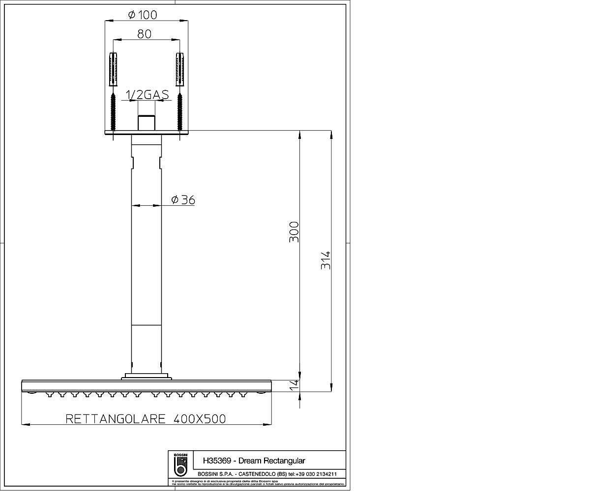 Лейка душевая Bossini DREAM Rectangular H35369
