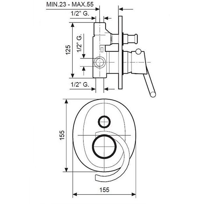 Смеситель для душа EMMEVI Twist мат-хром CS6619