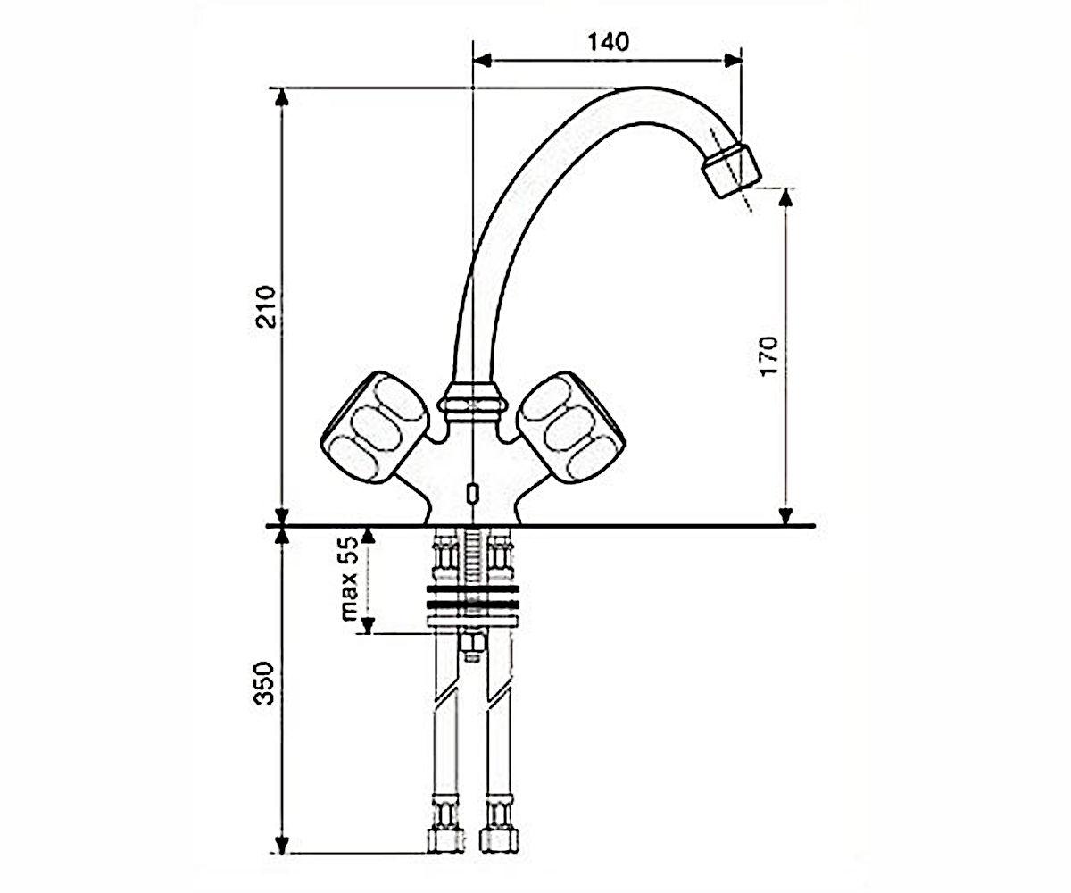 Смеситель для куxни EMMEVI SOLE CR15903