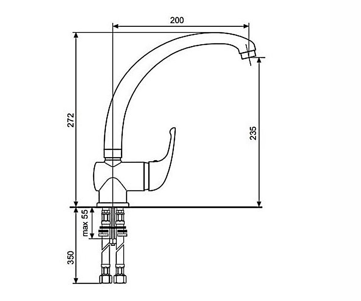 Смеситель для кухни EMMEVI GIGLIO CR8077G