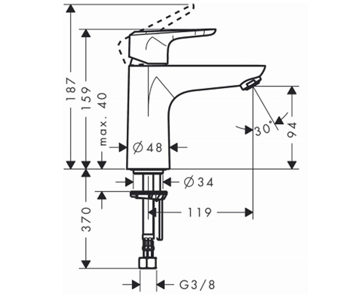 Смеситель для раковин HANSGROHE Ecos L Single Lever Basin Mixer 14081000
