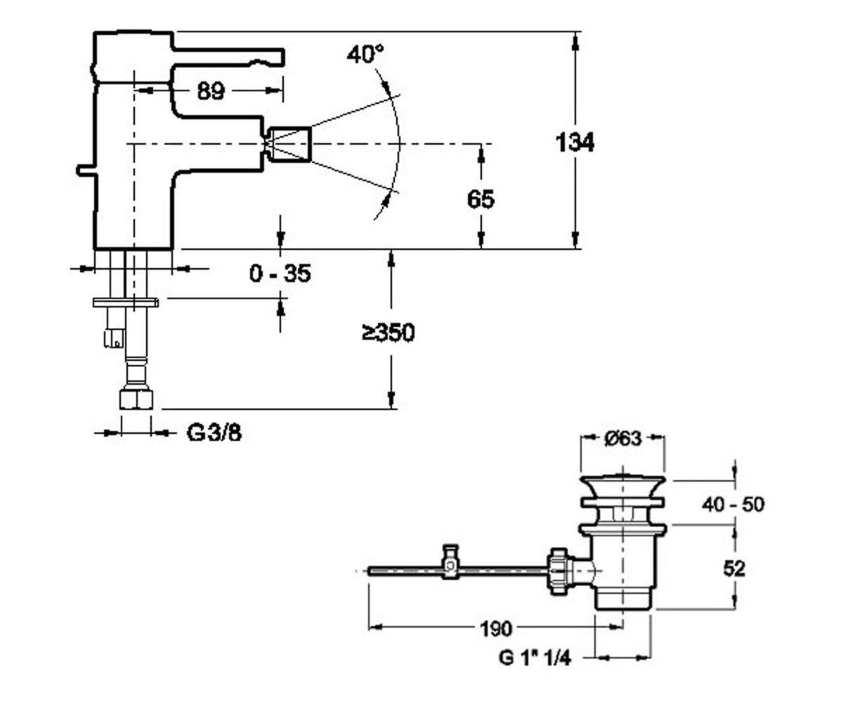 Смеситель для биде JACOB DELAFON CUFF E37045-CP