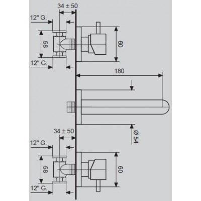 Смеситель для умывальника настенный EMMEVI PIPER CR45155 A
