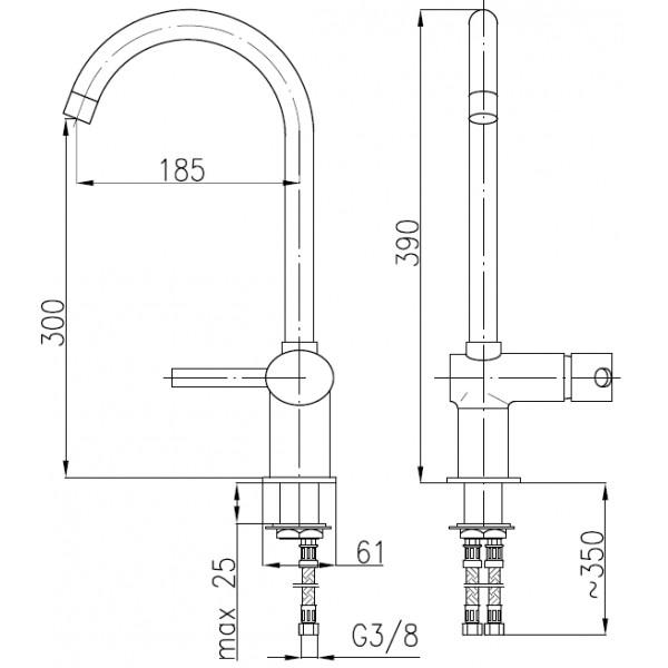 Смеситель для кухни KFA Armatura Diament 4103-915-00