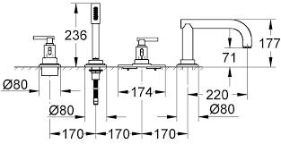 Смеситель на борт ванны GROHE ATRIO CLASSIC 19142000