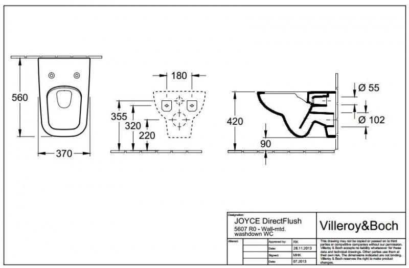 Чаша унитаза VILLEROY & BOCH JOYCE Direct Flush 5607R001 (с сиденьем Soft Close)