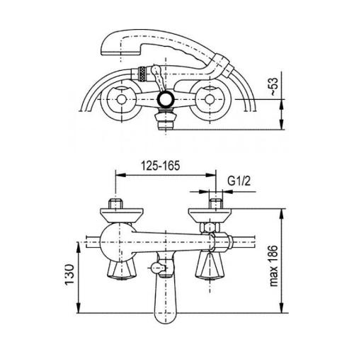 Смеситель для ванны KFA ARMATURA Ceramic 334-115-00