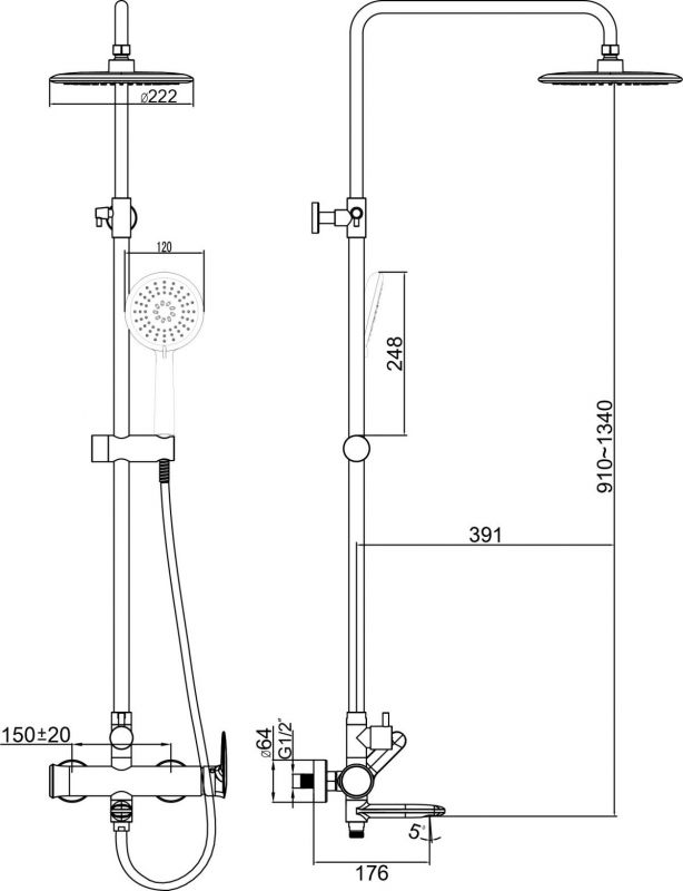 Душевая система Devit Hotel Line 3360SP