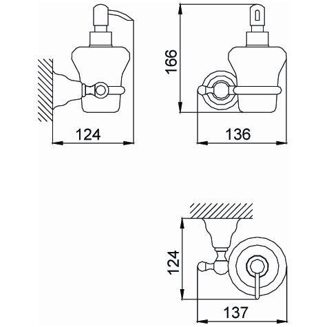 Дозатор жидкого мыла с держателем Devit Charlestone 80241426B