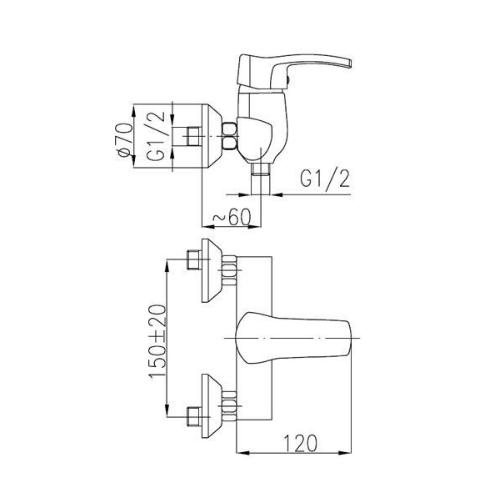 Смеситель для душa KFA ARMATURA Kwarc 4206-010-00
