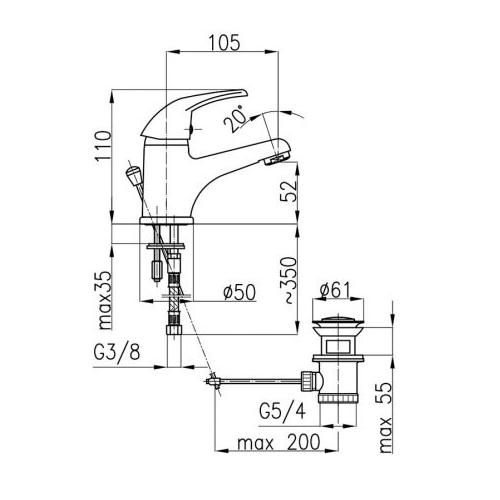 Смеситель для раковины KFA ARMATURA FERRYT 542-854-00