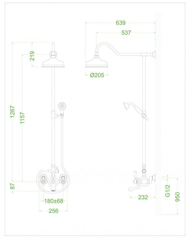 Душевая система DEVIT Charlestone Ceramic 80520142G